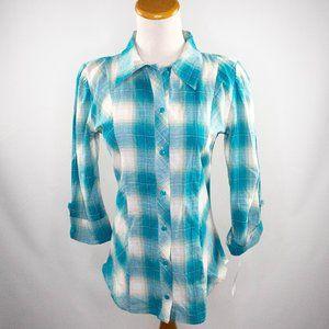 Love Rocks teal plaid blouse ladies size S